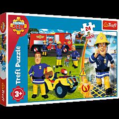 Dzielny Strażak Sam - puzzle 24 maxi od Trefl