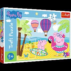 Świnka Peppa na wakacjach - puzzle 24 maxi od Trefl