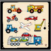 Pojazdy, układanka z kołkami