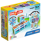 Magicube Printed Transport + Karty - klocki magnetyczne 7 el.