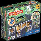 Magicube Printed Dżungla + Karty - klocki magnetyczne 9 el.